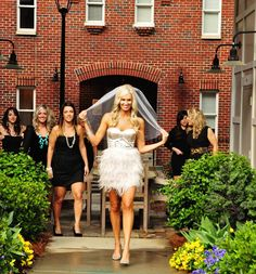 Bachelorette party dresses. Bride in white/silver or champagne/gold and friends in black.