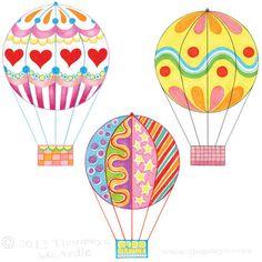 Colorful Hot Air Balloons Drawings by Thaneeya