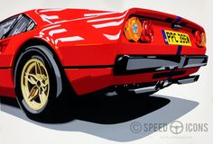 Ferrari 308. Hand-cut vinyl on A0 mountboard. More work at www.joelclarkartist.carbonmade.com. #ferrari #308 #carart #autoart