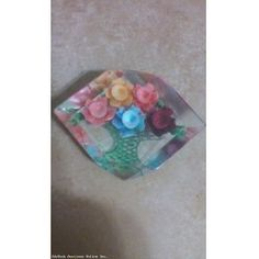 AMAZING Vintage Reverse Carved Brightly Painted Flowers Lucite Brooch