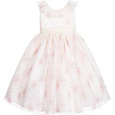 Nicki Macfarlane - Ivory & Pink Floral 'Michele' Silk Ballerina Length Dress   Childrensalon