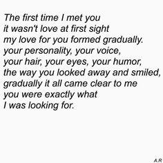 Love formed gradually...