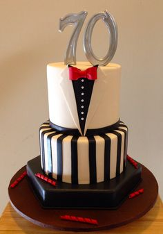 Tuxedo Theme Cake for a 70th birthday www.Avant-GardeCakeCo.com