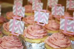 Pink and grey chevron cupcake toppers perfect for a baby shower, gender reveal, Baptism, etc. Custom colors available by TwoChihuahuas on Etsy 12 Cupcakes, Gender Reveal Decorations, Baby Shower Decorations, Cupcake Flags, Baby Shower Cupcake Toppers, Party Ideas, Event Ideas, Sweets