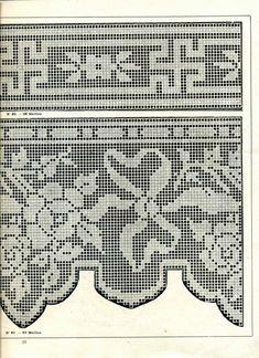 "Photo from album ""Edouard Boucherit - Grand album de modeles pour Filet on Yandex. Crochet Dollies, Crochet Lace Edging, Crochet Borders, Crochet Flowers, Crochet Edgings, Filet Crochet Charts, Crochet Diagram, Knitting Yarn, Knitting Patterns"
