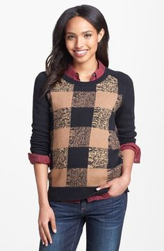 Halogen® Plaid Sweater (Regular & Petite) available at #Nordstrom