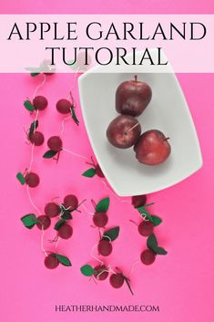 It's time to think about Fall and back to school projects! I got myself excited with an adorable apple garland make with felt balls and felt leaves! This apple garland tutorial is simple to create (no sewing machine required!), and it's perfect hung up or when used to as a table centerpiece. Sewing Projects For Beginners, Crafty Projects, Quilting Projects, School Projects, Apple Garland, Fall Garland, Craft Tutorials, Sewing Tutorials, Easy Crafts For Kids