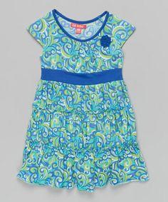This Turquoise Flourish Cap-Sleeve Dress - Girls is perfect! #zulilyfinds