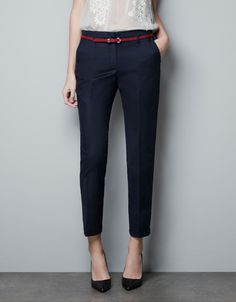 COTTON TROUSERS WITH TURN-UP HEM - Trousers - Woman - ZARA