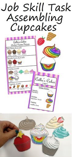 Your students become bakers with this yummy assembly task! Job Skills Special Education Work Box Assembling Cupcake Task #Lifeskills #Specialeducation #Cupcakes #Workboxes #Job #Jobskills #Assembly #Vocational #Vocationalboxes
