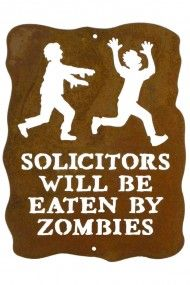 Solicitors Will Be Eaten by Zombies Steel Wall Sign