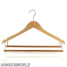 Wooden Clothes Hangers With Double Inlaid Trouser Bar - 45cm