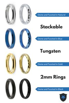 Create your own thin blue, gold, or silver line set with these stackable 2mm tungsten rings!