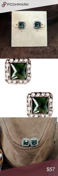 """Alexis Bittar Geometric Pyramid Stud Earrings Alexis Bittar Geometric Stud Earrings  Elegant green and Crystal earrings From the Miss Havisham collection. - Ruthenium plated pave crystal trimmed bezel set square-cut green hematite stud earrings - Post back - Approx. 3/8"""" length - Made in USA Materials: Ruthenium plated base metal, Swarovski crystal, green hematite. ? Alexis Bittar Jewelry Earrings"""