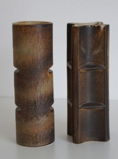 Lore ceramics Beesel the Netherlands 1976-1981 Matt Camps B.80 and B.81 brown vases, part of arranging elements, exist from 10 different parts