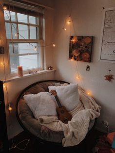 don't quite know how many people i can fit in my room, let alone this chair, but who'd like to join me for a rainy day movie fest? Cute Room Ideas, Cute Room Decor, Comfy Room Ideas, Aesthetic Room Decor, Cozy Room, Dream Rooms, My New Room, House Rooms, Bedroom Decor