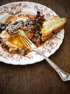 Braised Greens with Tomato & Farm Eggs