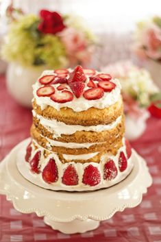 Strawberry Shortcake Naked Cake for this Strawberry Shortcake Birthday Party