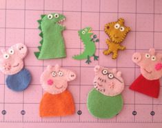 Peppa Pig inspired Handmade Felt Finger Puppets - ULTIMATE family set - Daddy + Mommy Pig, Peppa + George Pig, Dinosaur featuring Teddy Bear