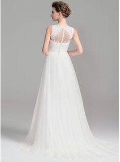 A-Line/Princess Scoop Neck Sweep Train Ruffle Beading Sequins Zipper Up Covered Button Regular Straps Sleeveless Church General Plus No Spring Summer Fall Ivory Tulle Wedding Dress