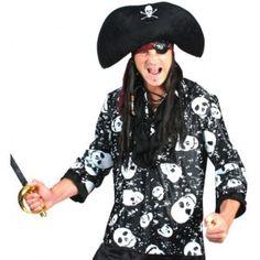 Déguisement pirate chemise noire homme, chemise pirate motif tête de mort, Halloween, fêtes.http://www.baiskadreams.com/895-deguisement-pirate-chemise-noire-homme.html