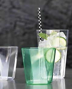 drink it in, or out. You don't have to sacrifice style to take the party al fresco. Cut-glass looking panels slant a sophisticated silhouette in durable acrylic. Generously sized to serve a variety of drinks. Stackable, too.