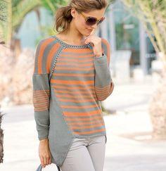 Пуловер со сложным кроем - схема вязания спицами. Вяжем Пуловеры на Verena.ru