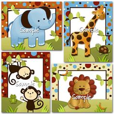 Set of 4, 8x10 Polka Dot Jungle Boys Bedroom Baby Nursery ART PRINTS