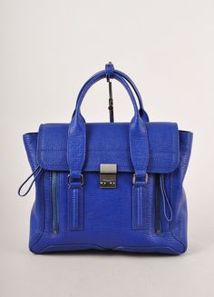 "Cobalt Blue Pebbled Leather Medium ""Pashli"" Satchel Bag"