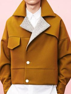 Sean Suen Fall/Winter 2014 Lookbook use of color, interesting crop that makes you focus on jacket details. the jacket is really styled and detailed, the photo is simple.