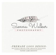 Photography Logo Design Custom Premade by PaperLarkDesigns