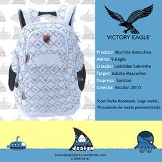 Linda mochila V.Eagle masculina. Não sobrou nem pra contar história. #backpack #mochilas #surf #schoolbags #productdesign #projectdesign #graphicdesign #kingleonidas #leonidasking #leonidasdesigner #sharks