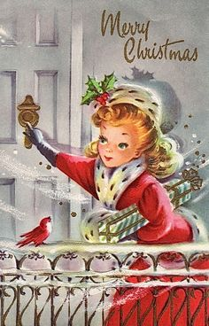 Old Christmas Post Сards — Vintage Christmas Lady (640x1000)