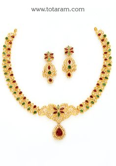 22K Gold  Necklace & Ear Hangings Set with Uncut Diamonds,Rubies & Emeralds