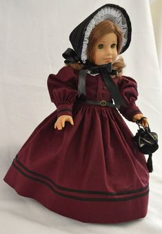 Civil War Era Dress, Bonnet and Reticule for 18 Inch American Girl Dolls. SpecialFriendsByJudy on etsy. $99.00.