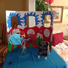 Dr. Seuss Photo Booth. #headcutouts #photobooth #firstbirthday #partyideas #partydecor
