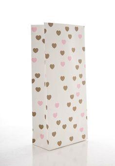 Valentinstagsgeschenke - 10 Papiertüte mit Gold-farbenen & Rosa Herz... - ein Designerstück von Cartissimi bei DaWanda