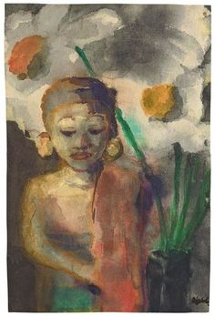Emil Nolde (1867-1956) Statue of Buddha with Flowers (after 1914)