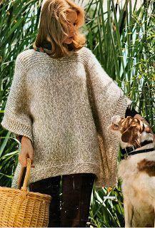 Des châles: Le plus simple des ponchos, tricoté au point mouss...