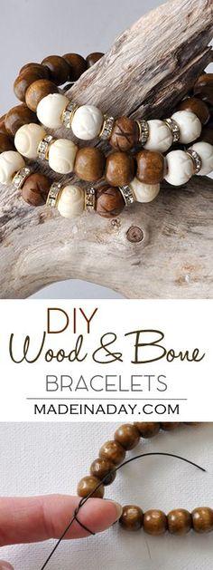 DIY Wood White Bone Bracelet madeinaday.com