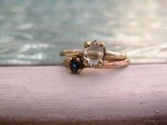 The Night Sky Rings | Crystal/Sapphire in 9k Gold