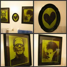 Frankenstein and Bride of Frankenstein printed on green paper and framed in black frames. halloween idea.