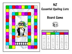 New Zealand Essential Spelling Lists 1-7 (+ commonly misspelt words).A fun board game to help your students learn their spelling words.  The variety of boards will give them a sense of choice and will help to keep them motivated to play.  The cute graphics are bound to appeal to both you and your students. Spelling Lists, Spelling Words, Word Study, Word Work, Student Learning, Teaching Kids, Fun Board Games, Classroom Environment, School Resources