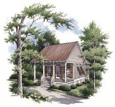 The House Designers, Hickory Pass. Heated area: 569 sf (20' x 39' inc porch)