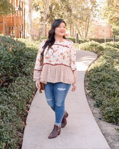 Getting in the holiday spirit and embracing fall colors! These distressed jeans from @maurices are so comfy, and this top is the prettiest combination of fall floral prints! For more details and to shop these looks, head to curvygirlchic.com! #sponsored #discovermaurices @ShopStyle