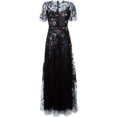 Valentino floral embroidered evening dress (€18.300) ❤ liked on Polyvore featuring dresses, gowns, long dresses, valentino, black, short-sleeve dresses, short sleeve dress, round neck dress and skater skirt
