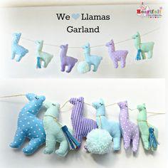 Llama Garland any colours lilac mint gold by heartfelthandmade