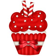 "Photo from album ""Candy Cane Christmas"" on Yandex. Cupcake Pictures, Cupcake Images, Cupcake Drawing, Cupcake Art, Red Cupcakes, Cute Cupcakes, Christmas Clipart, Christmas Printables, Christmas Love"