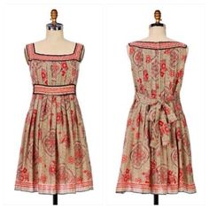 "Anthropologie Scholar's Garden Dress Geometrically printed and textured cotton-silk is rife with chinoiserie flora and contemplative medallions. By Anna Sui for Anthropologie. Back zip  Cotton, silk; cotton lining  Dry clean  35""L  Imported   IRL Pics Coming Soon  Anthropologie Dresses"