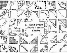 Hand Drawn Photo Corners Clipart, Doodle corners clip art, Photo overlay, PNG, EPS, AI, vector, For Personal and Commercial Use